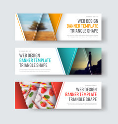 set of white banners with triangular elements vector image