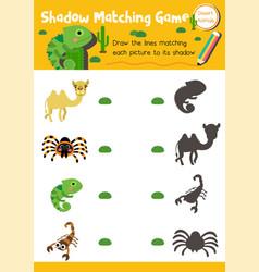 Shadow matching game desert animal vector