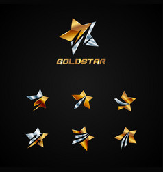shiny silver and gold star logo symbol vector image