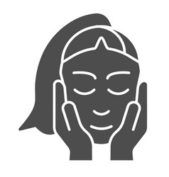 skin care solid icon face and hands sign vector image
