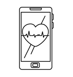 smartphone device with cardiology app vector image
