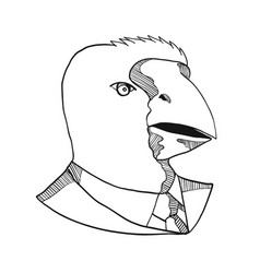 south island takahe wearing tie drawing black and vector image