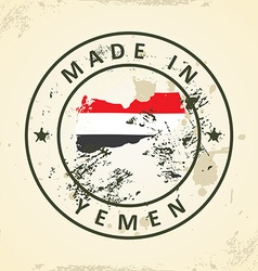 Stamp with map flag of Yemen vector image
