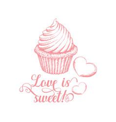 sweet love pinl calligraphy vector image