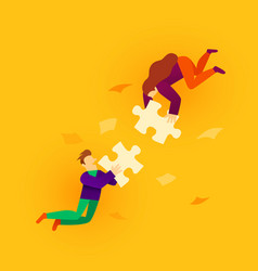 two flat style cartoon people connecting puzzle vector image