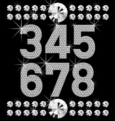 Vector set of diamond letters and numbers big and vector