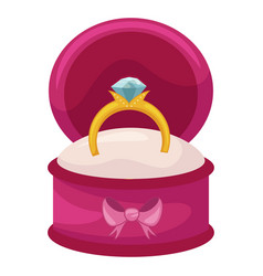 wedding ring in a beautiful box romantic vector image