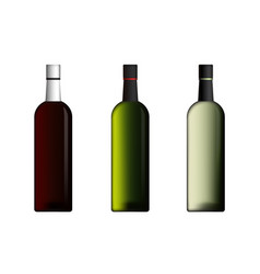 wine bottles in red green white color set vector image