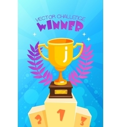 Winner Trophy On Podium Colorful Poster vector image