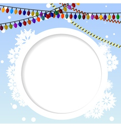 Winter background and circular element for text vector image