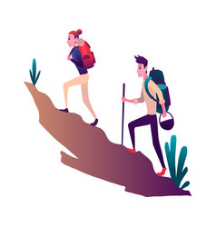 young woman and man couple hiking in mountains vector image