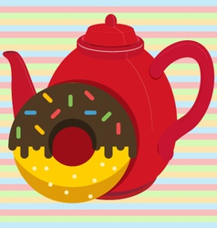 Donut with tea vector image