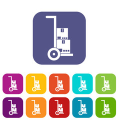 hand cart with cardboards icons set vector image vector image