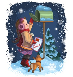little girl and puppy posting a letter to santa vector image