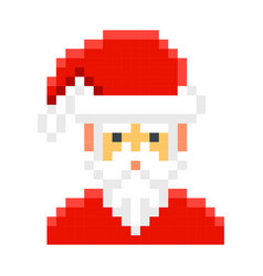 santa claus pixel art cartoon retro game style vector image