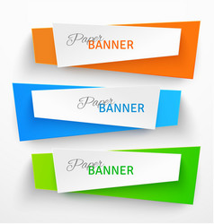 Set of colorful paper origami banners vector image