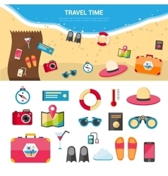 Summer Vacation Travel Concept Icons Set vector image vector image