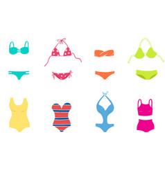 women colorful swimsuit design set fashion bikini vector image