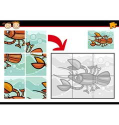 cartoon crayfish jigsaw puzzle game vector image vector image