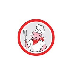 Pig Chef Cook Holding Spatula Circle Cartoon vector image vector image