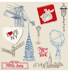 Scrapbook Design Elements - New York Doodle Set vector image vector image
