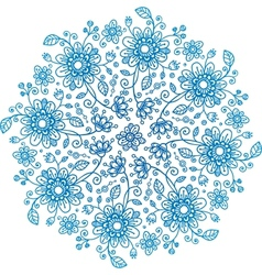 Blue flowers ornate background vector image vector image