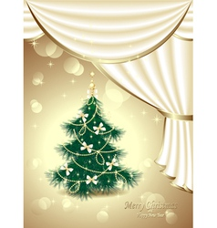 Christmas Tree with bows stars garland light d vector image vector image