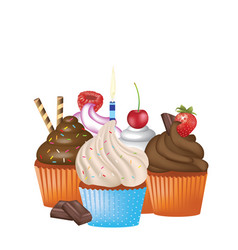 cupcakes set on white background vector image