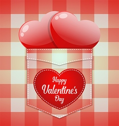 Glossy red heart in pocket with Happy Valentines vector image vector image