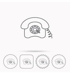 Retro phone icon Old telephone sign vector image