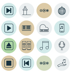 Set of 16 music icons includes note skip song vector