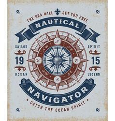 Vintage nautical navigator typography vector