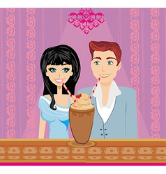 Young couple flirt and drink coffee vector image vector image