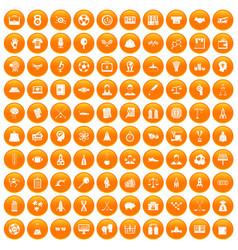 100 success icons set orange vector