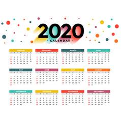 2020 new year calendar abstract colorful circles vector