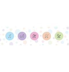 5 stroller icons vector