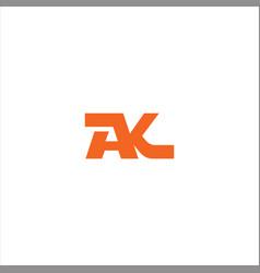 A k letter logo design on black color background vector