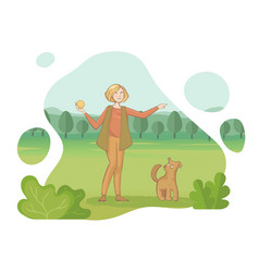 a young woman throws a ball to his dog in the vector image