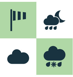 Air icons set collection of cloudy flag nightly vector