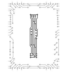 Alphabet printed circuit boards vector