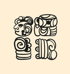 ancient mayan tattoo alphabet vector image