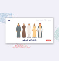 Arab world landing page template arabic male vector
