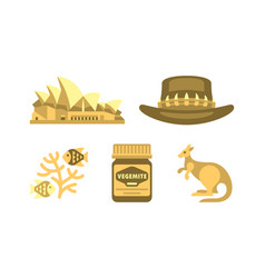 australian national symbols set travel to vector image
