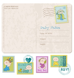 Baarrival card with set stamps vector