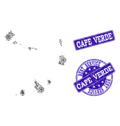 Best service collage of map of cape verde islands vector