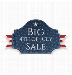 Big 4th july sale label with ribbon vector