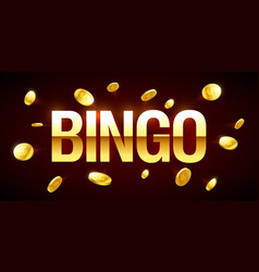 Bingo game banner with bingo inscription and gold vector