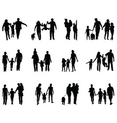 Black silhouettes families vector