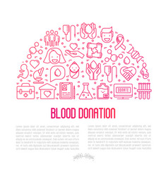 Blood donation concept in half circle vector