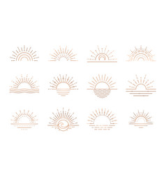 boho sunrise logo sun line art sunset vector image